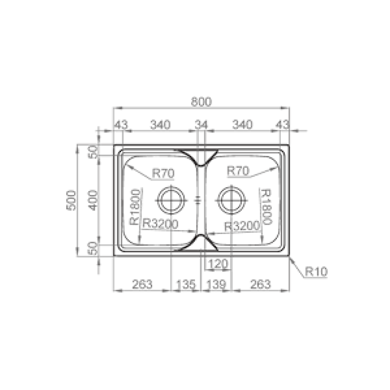 Sudoper RODI Okio plus 80 duo 800 x 500 mm  sa sifonom