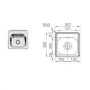 Sudoper RODI Pio bar 380 x 380 mm  sa sifonom