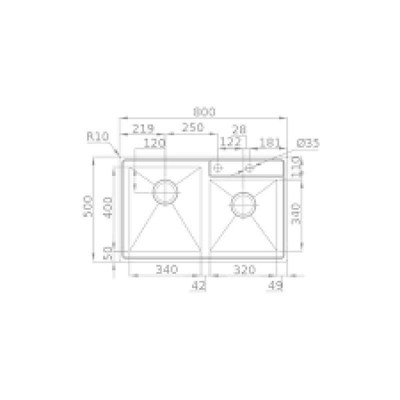 Sudoper RODI Box line 80 L 800x500mm sa sifonom