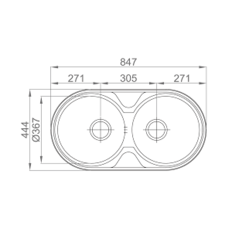 Sudoper RODI Dueto 847x444mm sa sifonom