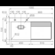 Sudoper RODI Glass 105 R 1000x530mm sa sifonom