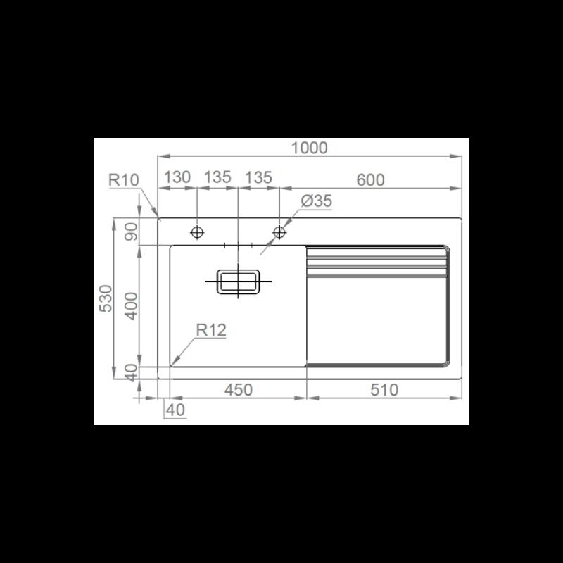 Sudoper RODI Glass 105 L 1000x530mm sa sifonom