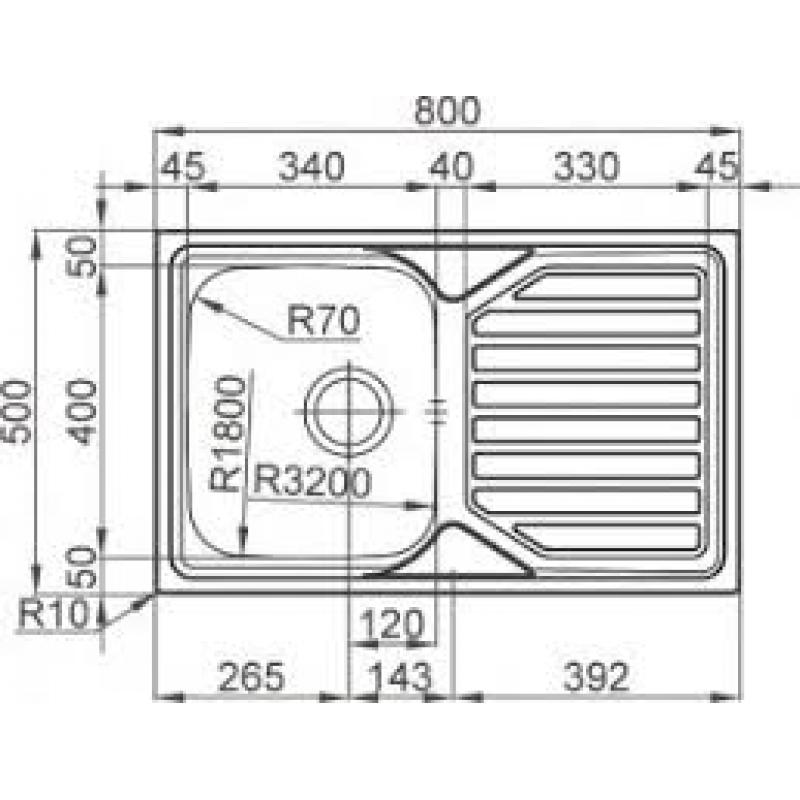 Sudoper RODI Okio plus 80 flat 800 x 500 mm  sa sifonom
