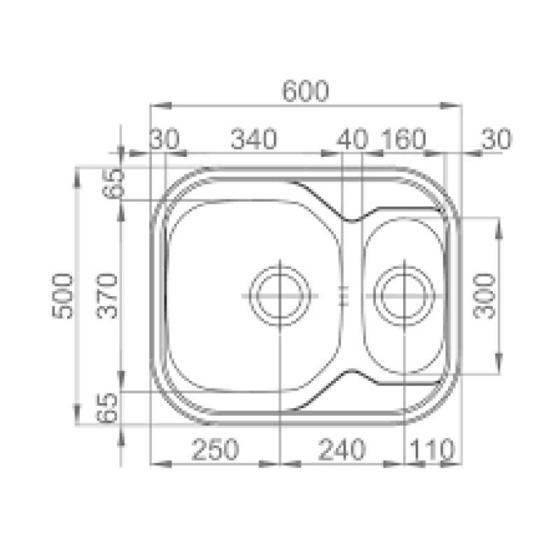 Sudoper RODI Skiper 600x500mm sa sifonom